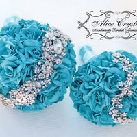 Brooch bouquet,Jeweled Bouquet. turquoise azure Bouquet