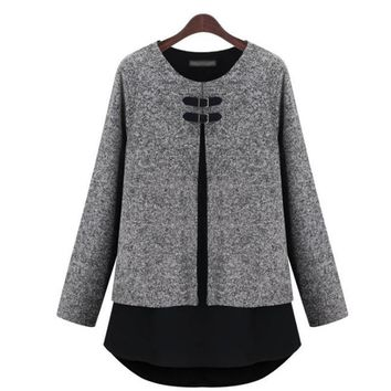 2016 New Tumblr Blusa Unicorn Europe And The Large Size Women Autumn Winter Color Mosaic Knitting False Two Piece Fat Mm Shirt