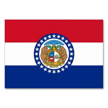 Patriotic table card with Flag of Missouri