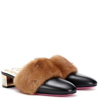 Fur-trimmed leather mules
