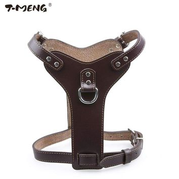 T-MENG Brand Pet Products Genuine Leather Dog Harness For Small Medium Large Pets Professional K9 Dog Collar Hand Chest Straps M
