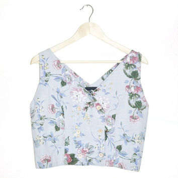 L1-15 Vintage 80s 90s Romantic Chic Country Girl Baby Blue Pink Floral Double Breast Crop Vest Top Sz Medium