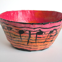 Papier mache bowl. One of a kind art piece. Ideal gift for a musician. Kitschy and fun. Sunrise. Handmade and hand painted Decorative bowl