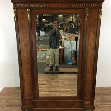 Antique French Style Veneered Maple Armoire