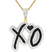 """Silver XO Love Heart Iced Out Cut Out Pendant 24"""" Chain"""