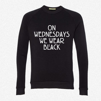 On wednesdays we wear black fleece crewneck sweatshirt