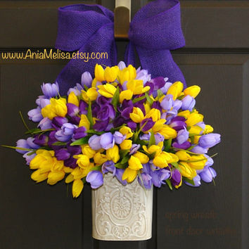 spring wreath summer front door wreaths Valentines day decor front door decorations purple lavender yellow wreath burlap bow wreaths