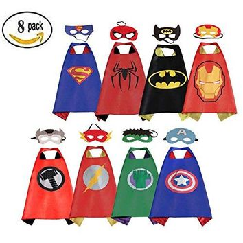 RioRand Comics Cartoon Dress Up Costumes Satin Capes with Felt Masks (Boys Cartoon Costumes 8pcs)