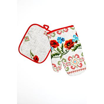 Kitchen set of mitten and a potholder. Sviato