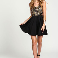 Gold Mod Sequin Flare Dress