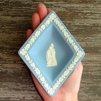 Vintage Wedgewood Plate, Blue and White Jasperware Mini Plate, Small Diamond Dish, Collectible Home Decor, Signed, Made in England, English