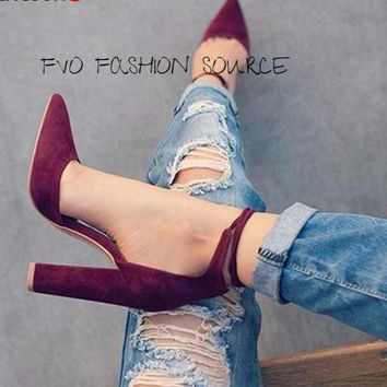 Wrap It Up and get to the Point with these Sexy Pointed Block Heels with Double Wrapped  Ankle Strap.