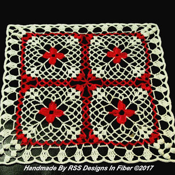 Red and White Flowers Lace Doily - Red Flower Square Doily - Diamond Shape Flower Doily - Red and White Doily Decor - Shabby Chic Flowers