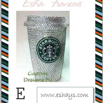 Custom Bling Clear Rhinestone Starbucks Cup with Lid