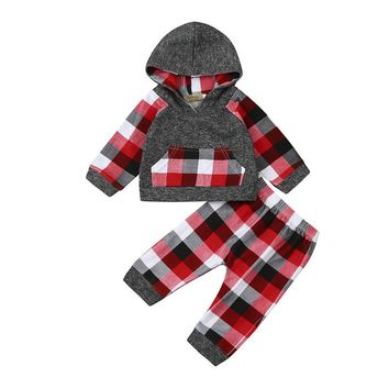 2pcs set baby clothes Autumn Toddler Baby Boy Girl Clothes Set Plaid Hoodie Tops+Pants baby Outfits drop shipping