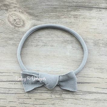 Baby Girl Headband. Baby Girl Bow. Newborn Headband. Newborn GRAY Bow. Knotted Bow. Nylon Headband. Coming Home Outfit. Infant Grey Bow.