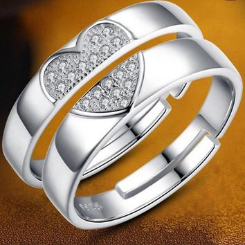 CREYUG3 2015 New Creative Gift 925 Sterling Silver Couple Rings Love Ring of Concentric Ring = 1929940356