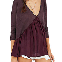 Amaranth Colored Paneled V Back Pleated Tee