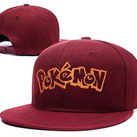 RHXING English Pokémon Logo Adjustable Snapback Embroidery Hats Caps - Red