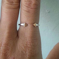 Hammered Finished Adjustable Sterling Silver Arrow stacking Ring