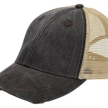Adams Cap mens 6-Panel Pigment-Dyed Distressed Trucker Cap(OL102)
