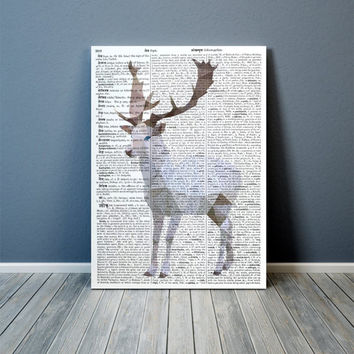 White Deer art Modern decor Colorful print Animal poster TOA75-1