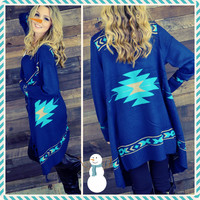 Downtown Natives Blue Southwestern Open Fringed Cardigan