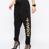 adidas Originals Sweat Pants With Gold Side Logo