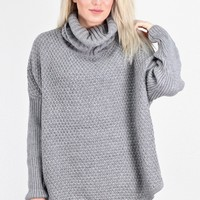 Cozy Cowl Neck Chunky Knit Sweater Tunic {Grey}