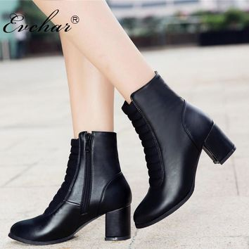 EVCHAR Fashion Ankle boots zipper PU leahter  high heels shoes spring autumn riding boots for women NEw punk large size 32-50