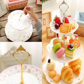 1 Sets 2 or 3 Tier Cake Plate Stand Handle Crown Fitting Metal Wedding Party Silver Golden (Plates Not Included)