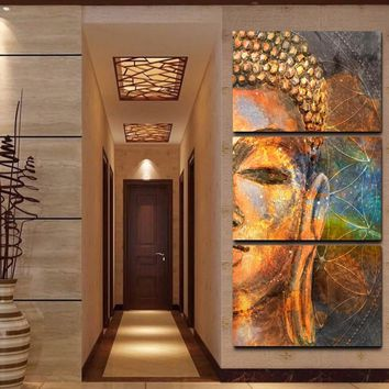 Canvas Paintings Wall Art Framework HD Prints Pictures 3 Pieces Abstract Golden Buddha Statue Poster Home Decor For Living Room