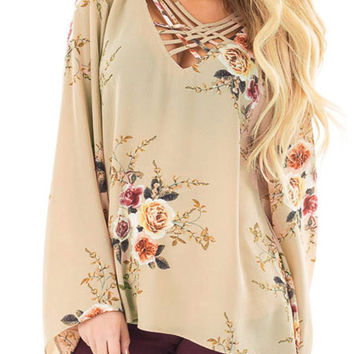 Apricot Long Bell Sleeve Elegant Floral Chiffon Top LAVELIQ