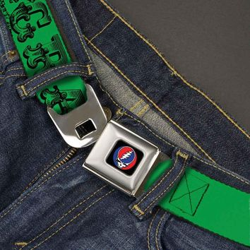 Grateful Dead Men's  Text With Skull & Roses Green Seatbelt Buckle Belt