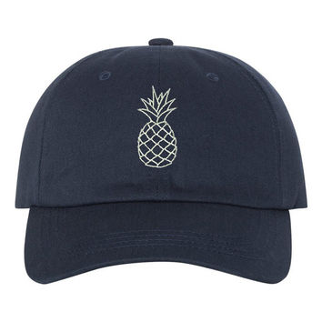 PINEAPPLE White Dad Hat , Baseball Hat , Low Profile Embroidered Baseball Cap, Dad Hats, Navy Blue