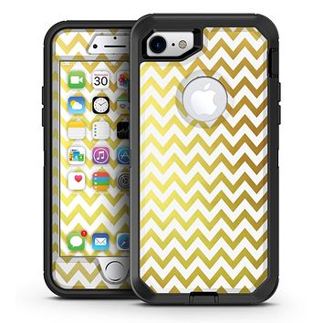 The Gold and White Chevron Pattern - iPhone 7 or 7 Plus OtterBox Defender Case Skin Decal Kit