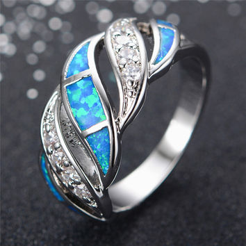 Blue / White Sapphire Ring