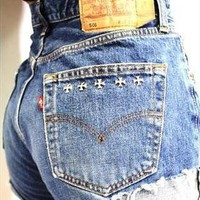 Vintage Levis Dark Blue Cross Stud High Waisted Shorts from Boutique 73