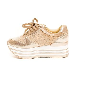 Soho Shoes Women's Striped Lace Up Flatform Casual Sneaker