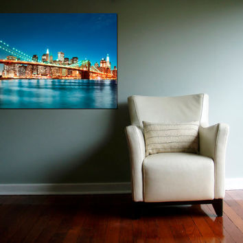 "Canvas Print Artwork Stretched Gallery Wrapped Wall Art Painting New York Night City Town Brooklyn Bridge America Large Size 28x42"" (can7)"