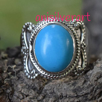 Turquoise Ring, Turquoise Stone Ring, Simple Silver Ring, Silver Rings, Easter Sale Ring, Boho Rings,  Gypsy Design Ring, Stone Ring