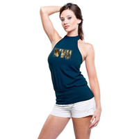 West Virginia Mountaineers Women's Navy Blue Bloused Halter Top