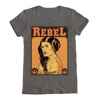 Star Wars Rebel Princess Leia Steel Grey Juniors T-shirt - Star Wars - | TV Store Online