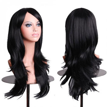 Black Anime Wig Cosplay Curly Wig Body Wave  Wig