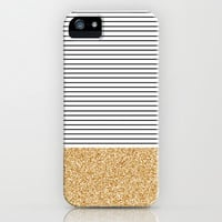Minimal Gold Glitter Stripes iPhone & iPod Case by Allyson Johnson