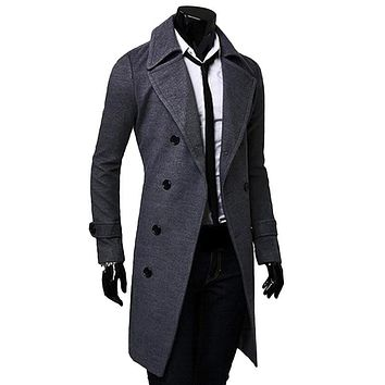 Men Military Business Outerwear Long Wool Coat Double Breasted Trench Overcoats Thick Mens Woolcoat Ling Jacket Overcoat Warm