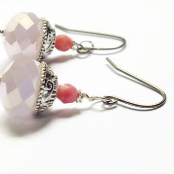 Pastel Pink Earrings, Czech Surgical Steel Earrings, Ornate Earrings