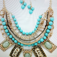BOLD ESTATE LOO TURQUOISE STATEMENT NECKLACE COLLAR LAYERED GOLD BRONZE LINK $69