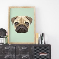 Pug Geometric Art Print Canvas Animal Painting