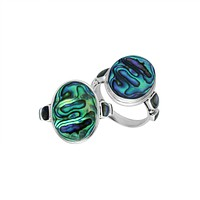 """AR-1088-AB-8"""" Sterling Silver Ring With Abalone Shell"""